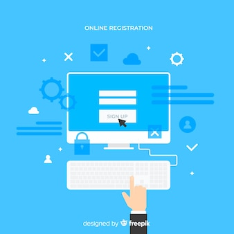 現代のオンライン登録コンセプト