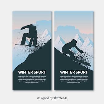 現代の冬のスポーツバナー