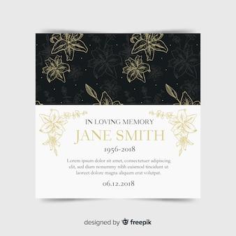 エレガントなスタイルの現代葬儀カード