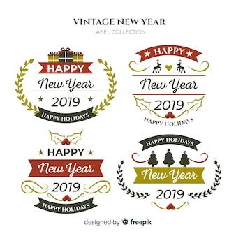 ヴィンテージ新年のラベルコレクション