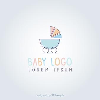 Симпатичный рисованный шаблон логотипа ребенка
