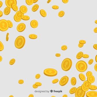 インドのルピー硬貨が落ちる