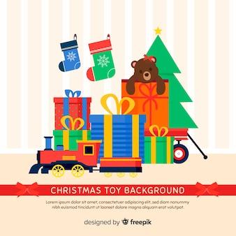 Рождественские игрушки плоский фон