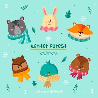 冬の森の動物の素敵なセット