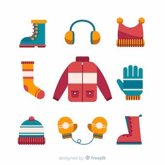 フラットデザインのモダンな冬の洋服コレクション