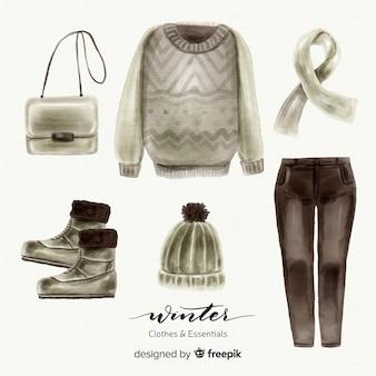 モダンな水彩冬の洋服コレクション