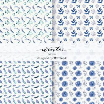 ラブリーな水彩冬のパターンのセット