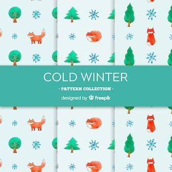水彩冬のパターンコレクション