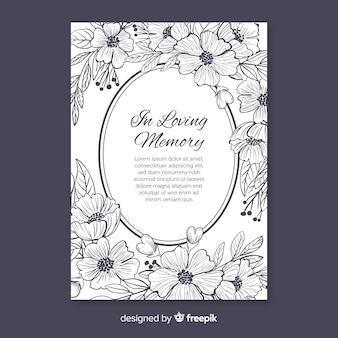 フラワースタイルのエレガントな葬儀招待状