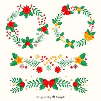 美しいクリスマスの花輪と国境