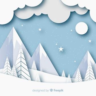 Зимний пейзаж фона в стиле бумаги