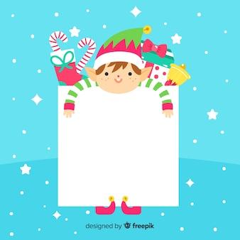 空白のサインのクリスマスの背景とフラットエルフ