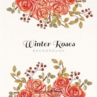 冬のバラの背景
