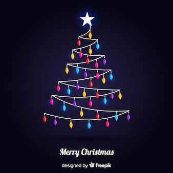 カラフルなライトと素敵なクリスマスツリー