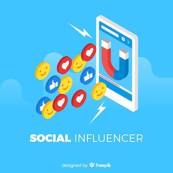 Социальный влиятельный плоский фон