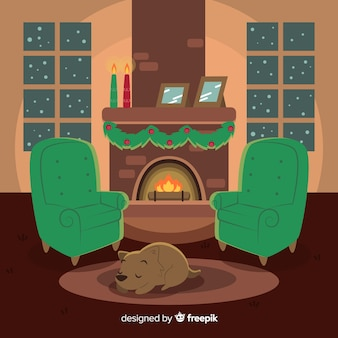 暖炉の背景で犬