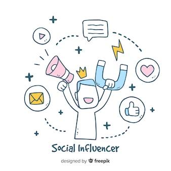社会的インフルエンサーの手描きの背景