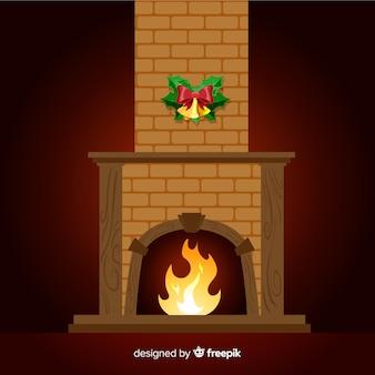 フラットな暖炉のシーン