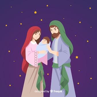 Плоский ночной фон рождества