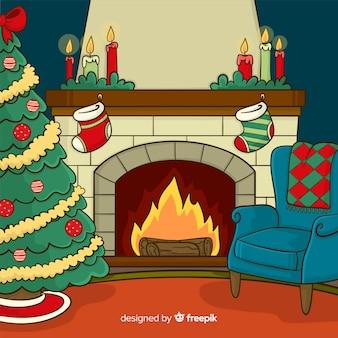 暖炉のシーンの背景