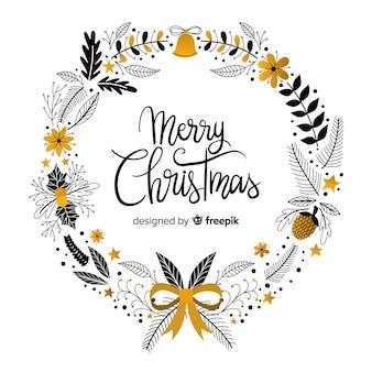 手描きのクリスマスの花輪