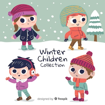 Симпатичная коллекция зимних детей