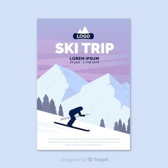 Шаблон плаката для лыжников