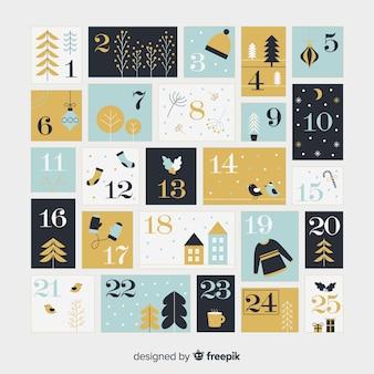 Современный шаблон календаря рождества