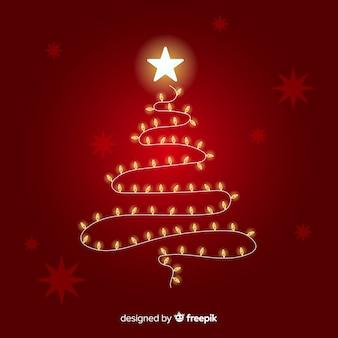 電球でできたクリスマスツリー