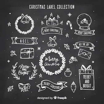 黒板クリスマスラベルコレクション