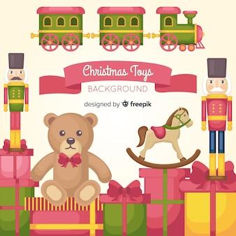 クリスマスのおもちゃの平面の背景