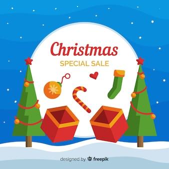クリスマスセールのオープンボックスの背景