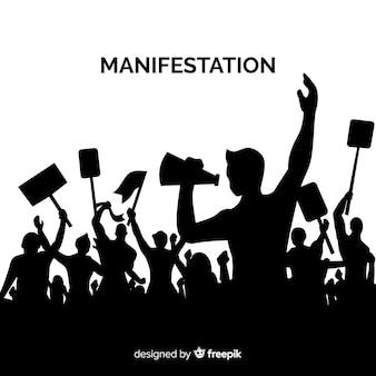 Революционная композиция с силуэтом людей, протестующих