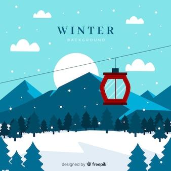 フラットデザインの冬の風景
