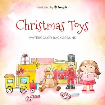 水彩クリスマスのおもちゃの背景