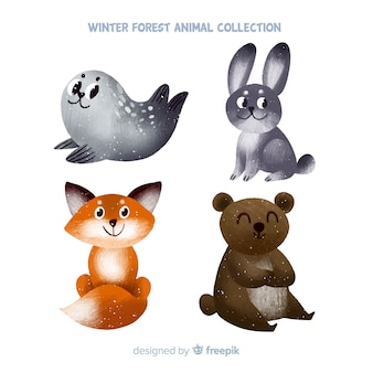 手描きの冬の森動物パック