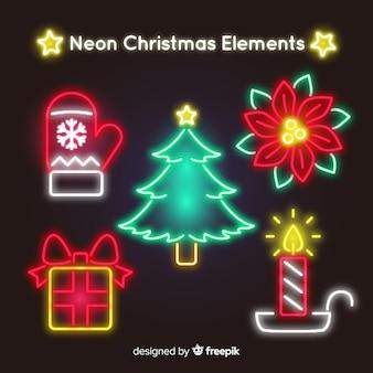 ネオンのクリスマスの要素パック