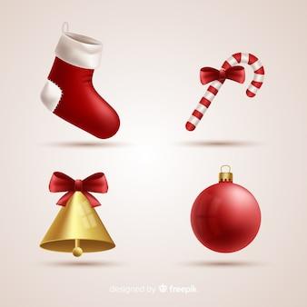 現実的なクリスマス要素のコレクション