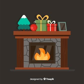 フラットクリスマス暖炉のイラスト