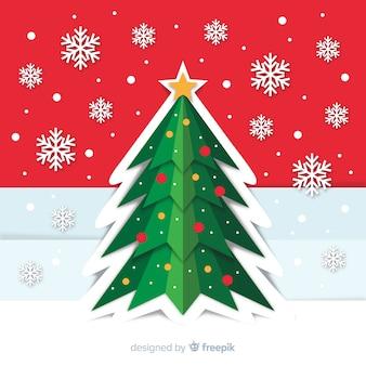 Рождественская елка фон в стиле бумаги