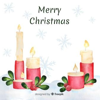 水彩クリスマスキャンドルの背景