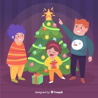 Семья украшения рождественская елка иллюстрации