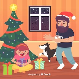 おなじみのシーンのクリスマスの背景