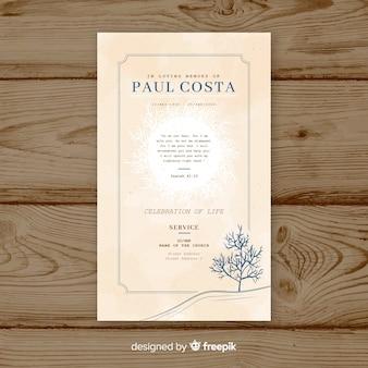 ヴィンテージ葬儀カードのテンプレート