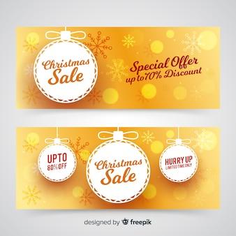 Золотые рождественские баннеры
