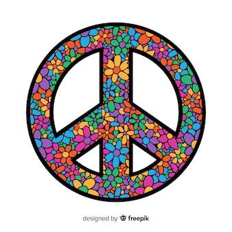 フラワースタイルの素敵な平和シンボル