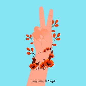 Символ мира пальцев с плоским дизайном
