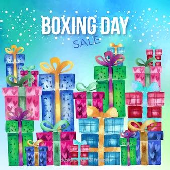 水彩ボクシングの日の販売の背景