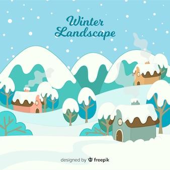 素敵な手描きの冬の風景
