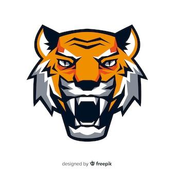 Плоская тигровая голова